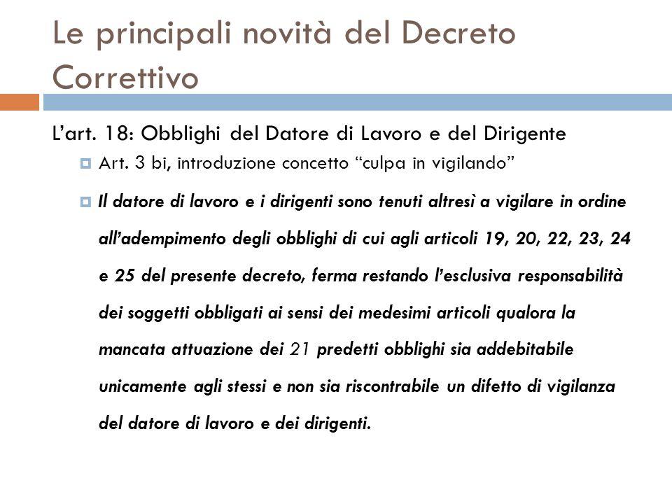 Le principali novità del Decreto Correttivo