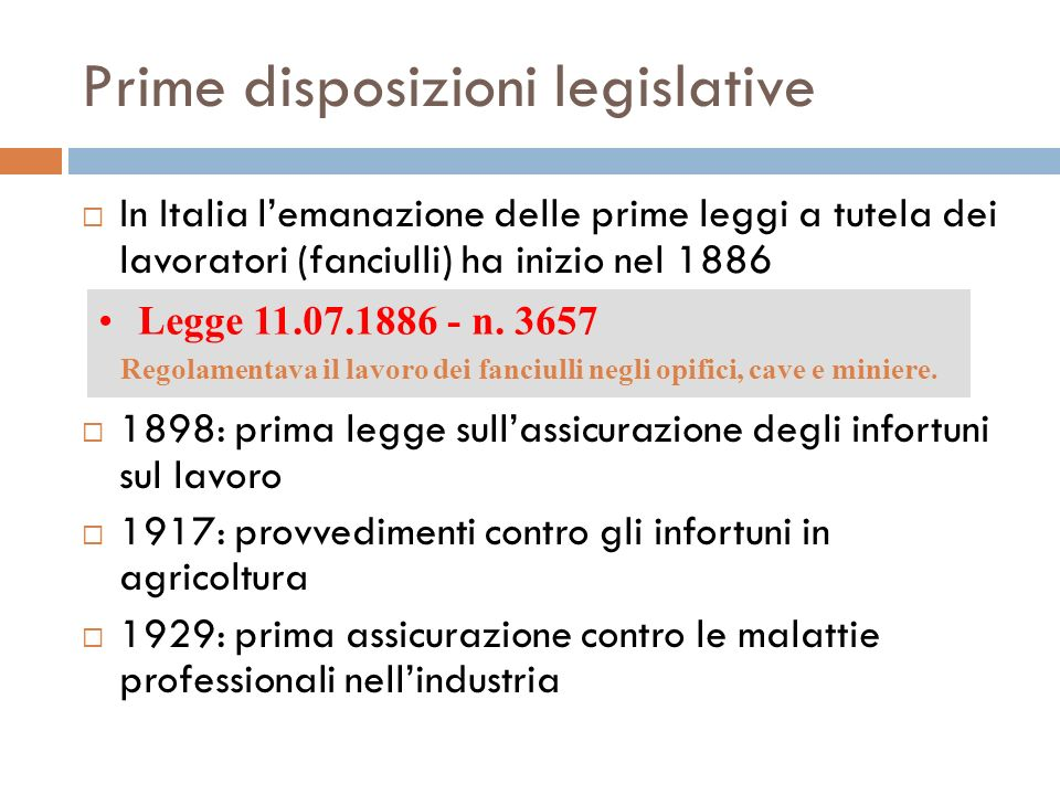 Prime disposizioni legislative