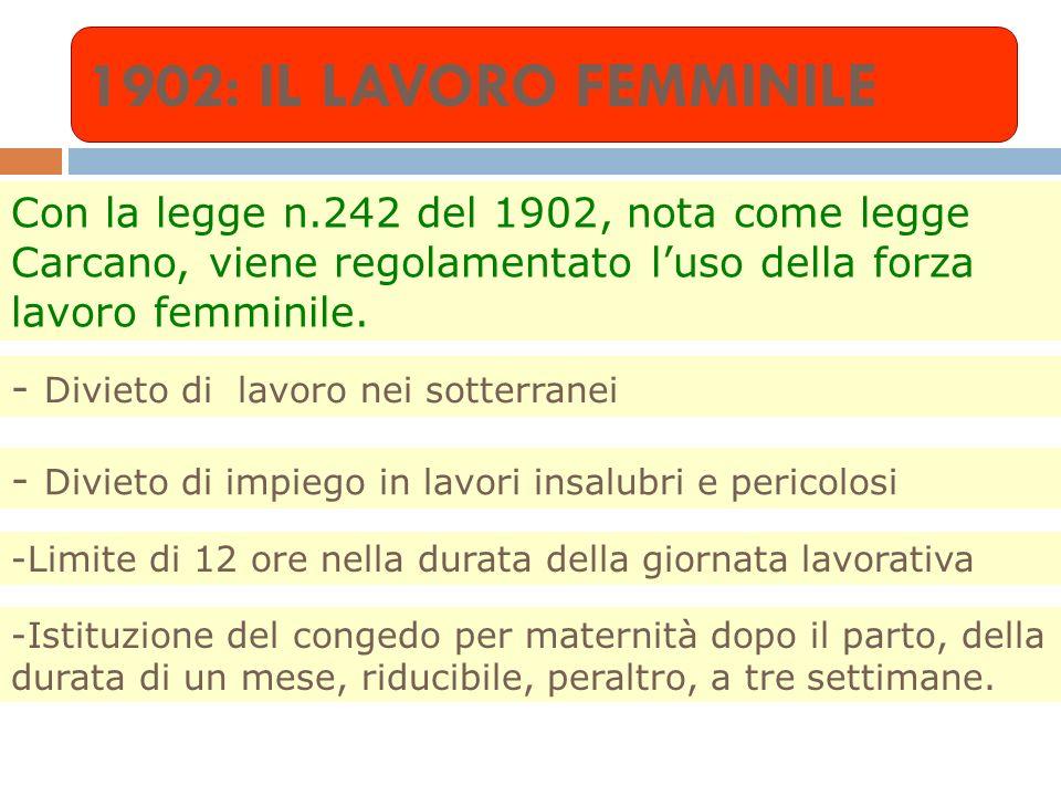 1902: IL LAVORO FEMMINILE Con la legge n.242 del 1902, nota come legge Carcano, viene regolamentato l'uso della forza lavoro femminile.