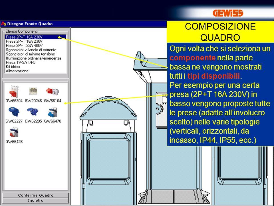 COMPOSIZIONE QUADRO Ogni volta che si seleziona un componente nella parte bassa ne vengono mostrati tutti i tipi disponibili.