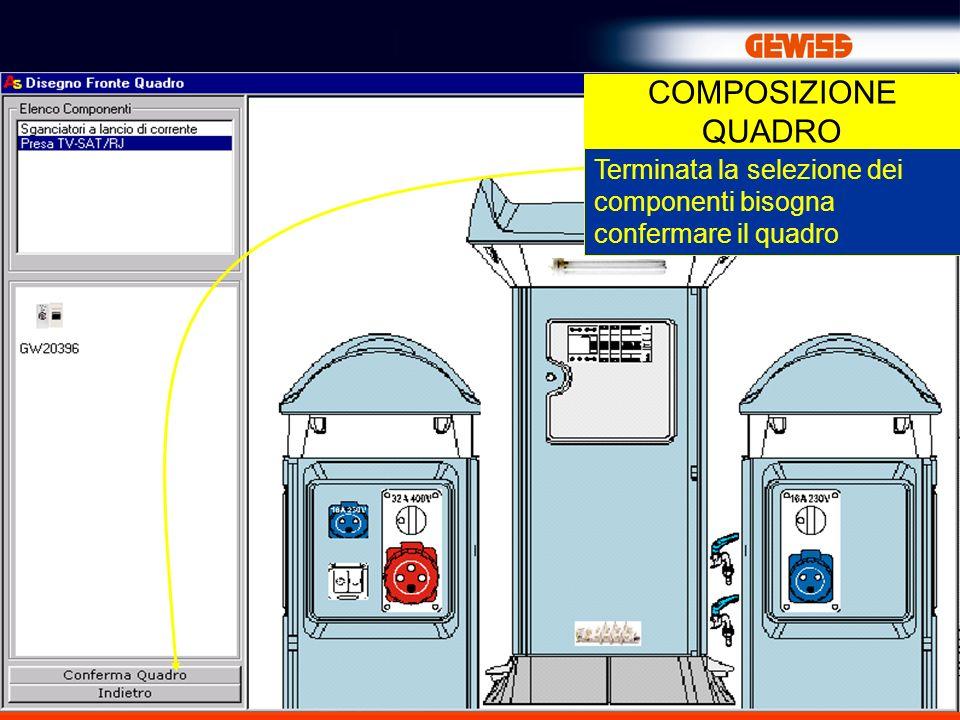 COMPOSIZIONE QUADRO Terminata la selezione dei componenti bisogna confermare il quadro