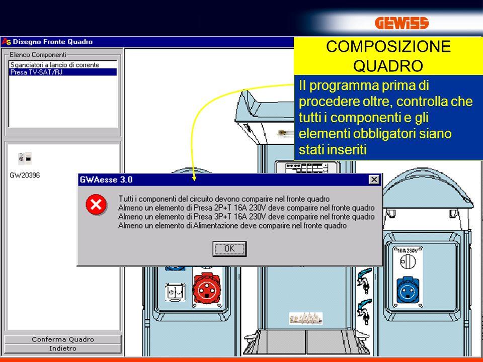 COMPOSIZIONE QUADRO Il programma prima di procedere oltre, controlla che tutti i componenti e gli elementi obbligatori siano stati inseriti.