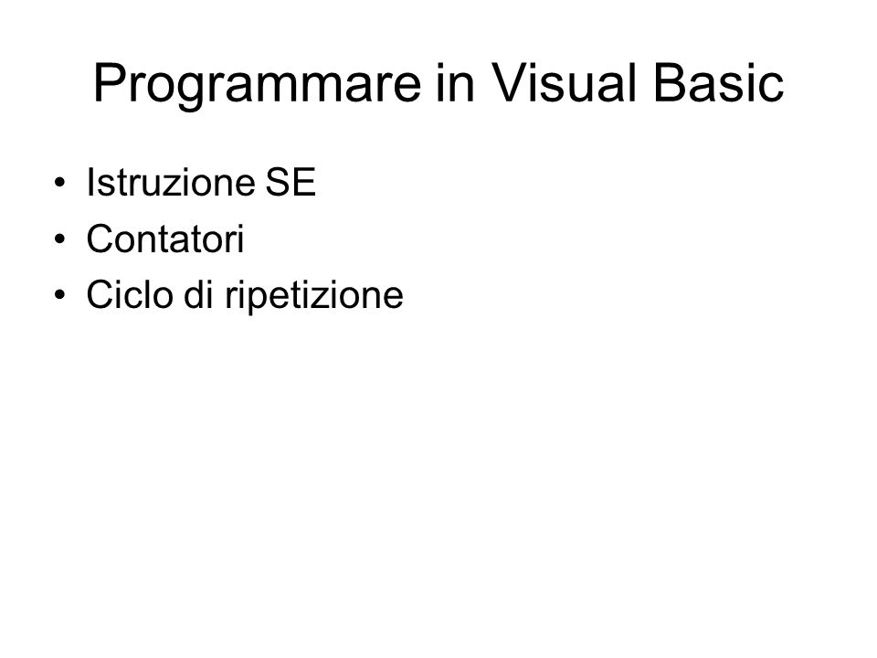 Programmare in Visual Basic