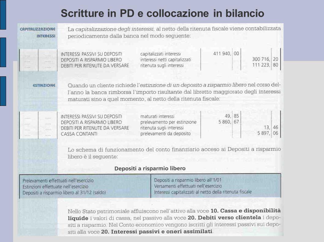 Scritture in PD e collocazione in bilancio