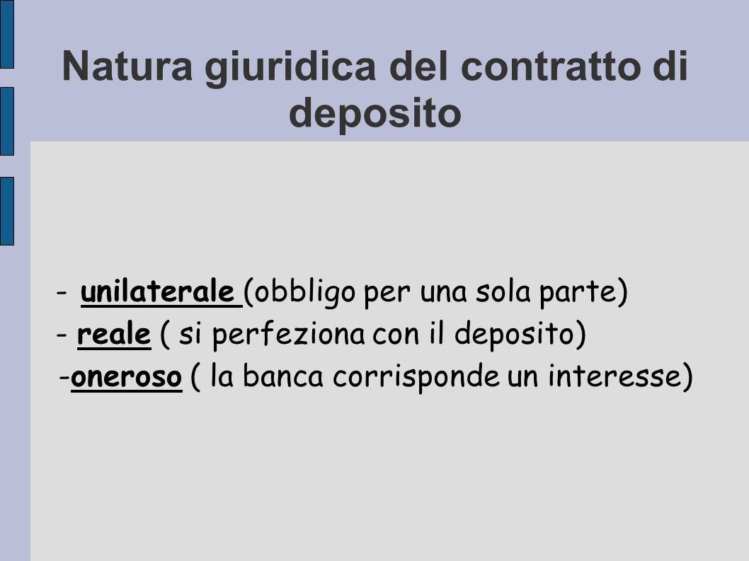 Natura giuridica del contratto di deposito
