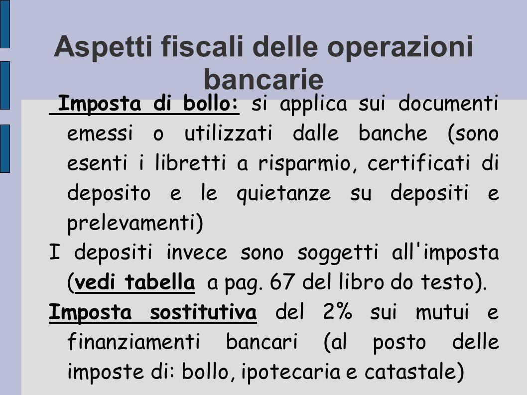 Aspetti fiscali delle operazioni bancarie