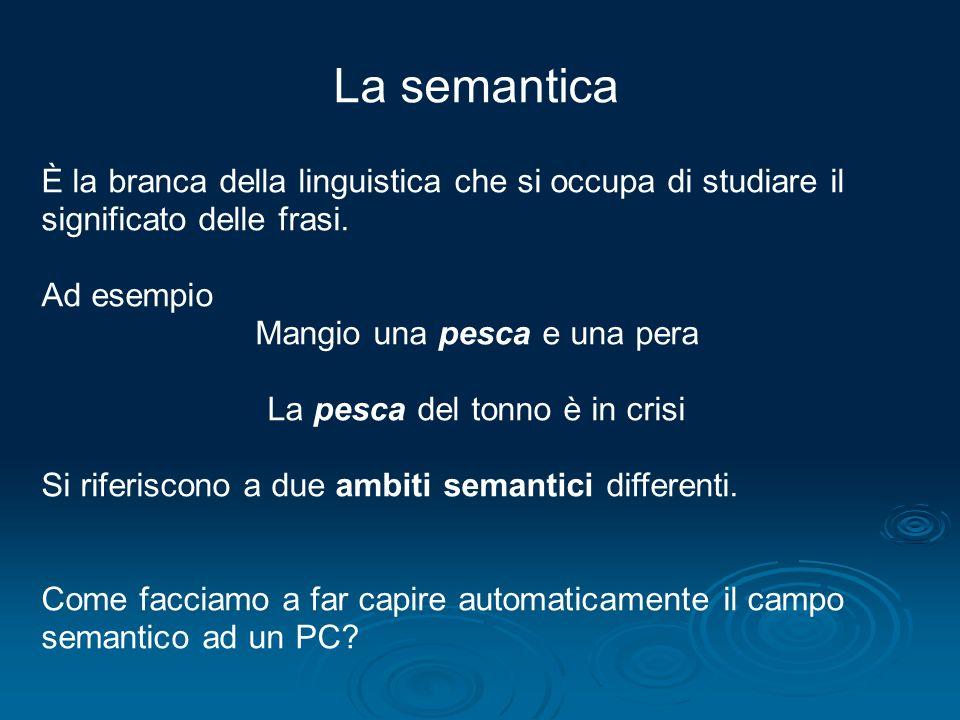 La semantica È la branca della linguistica che si occupa di studiare il significato delle frasi. Ad esempio.