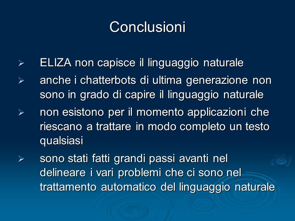 Conclusioni ELIZA non capisce il linguaggio naturale