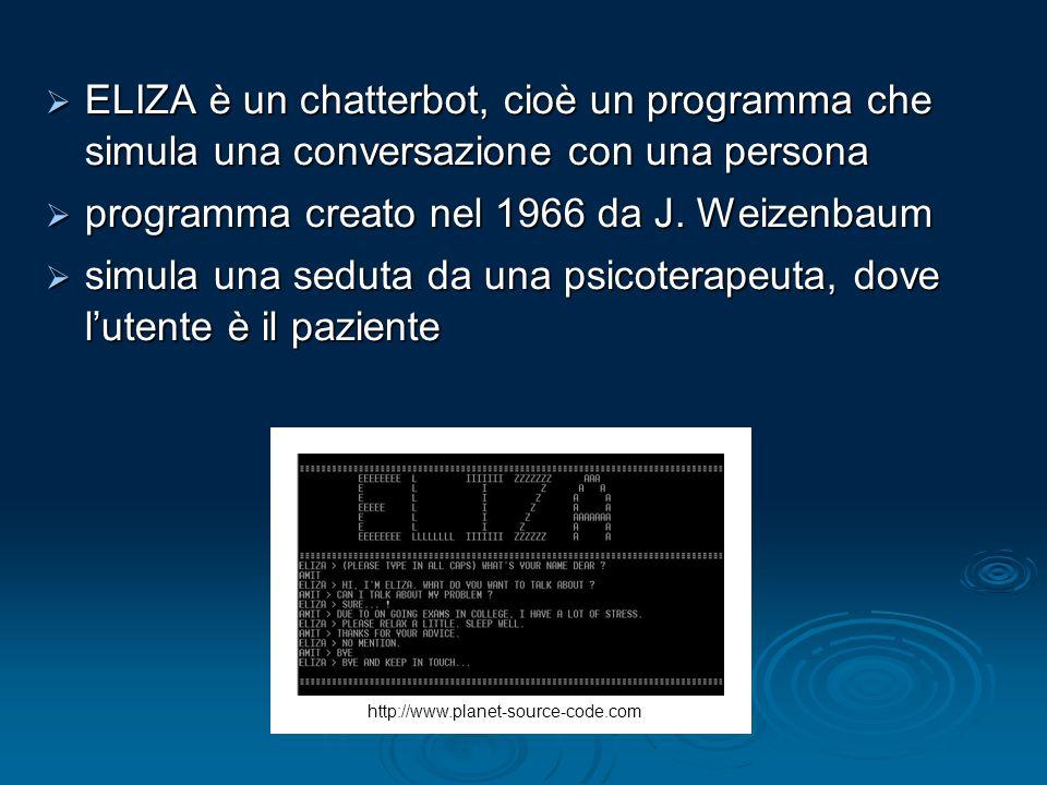 programma creato nel 1966 da J. Weizenbaum