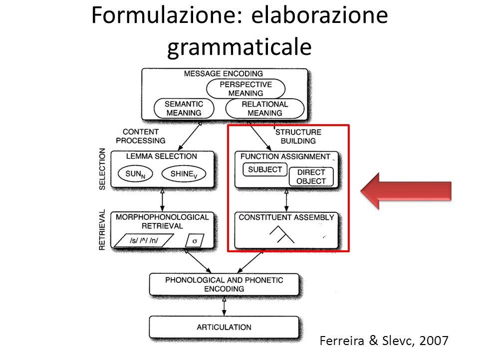 Formulazione: elaborazione grammaticale