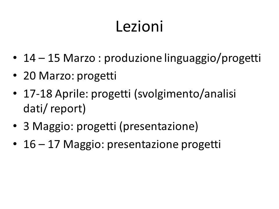 Lezioni 14 – 15 Marzo : produzione linguaggio/progetti