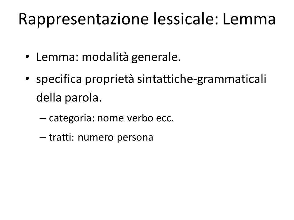 Rappresentazione lessicale: Lemma