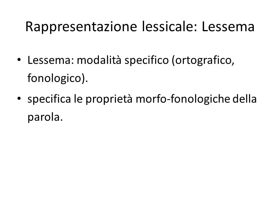 Rappresentazione lessicale: Lessema