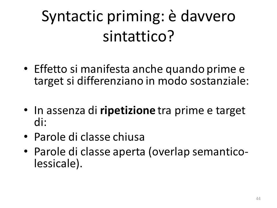 Syntactic priming: è davvero sintattico