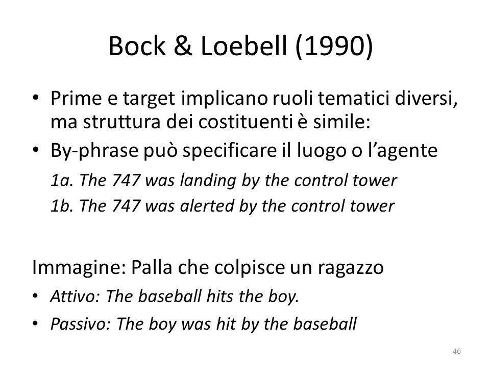 Bock & Loebell (1990) Prime e target implicano ruoli tematici diversi, ma struttura dei costituenti è simile: