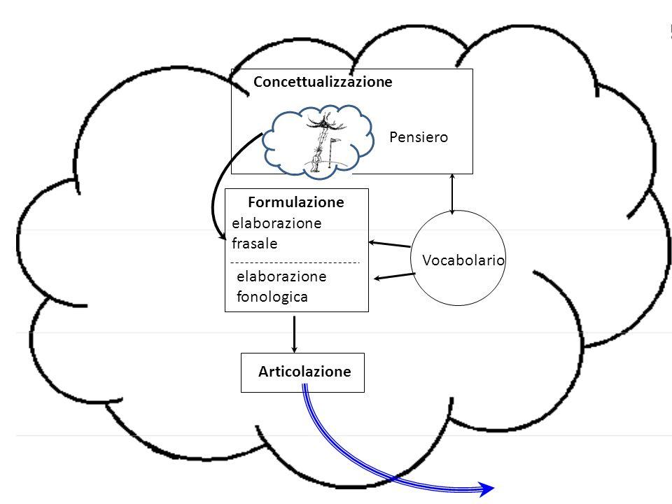 Vocabolario Formulazione. elaborazione frasale. elaborazione fonologica. Articolazione. Concettualizzazione.