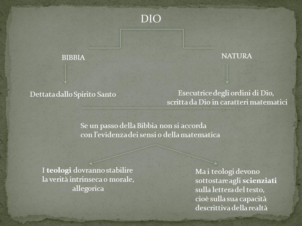 DIO NATURA BIBBIA Esecutrice degli ordini di Dio,
