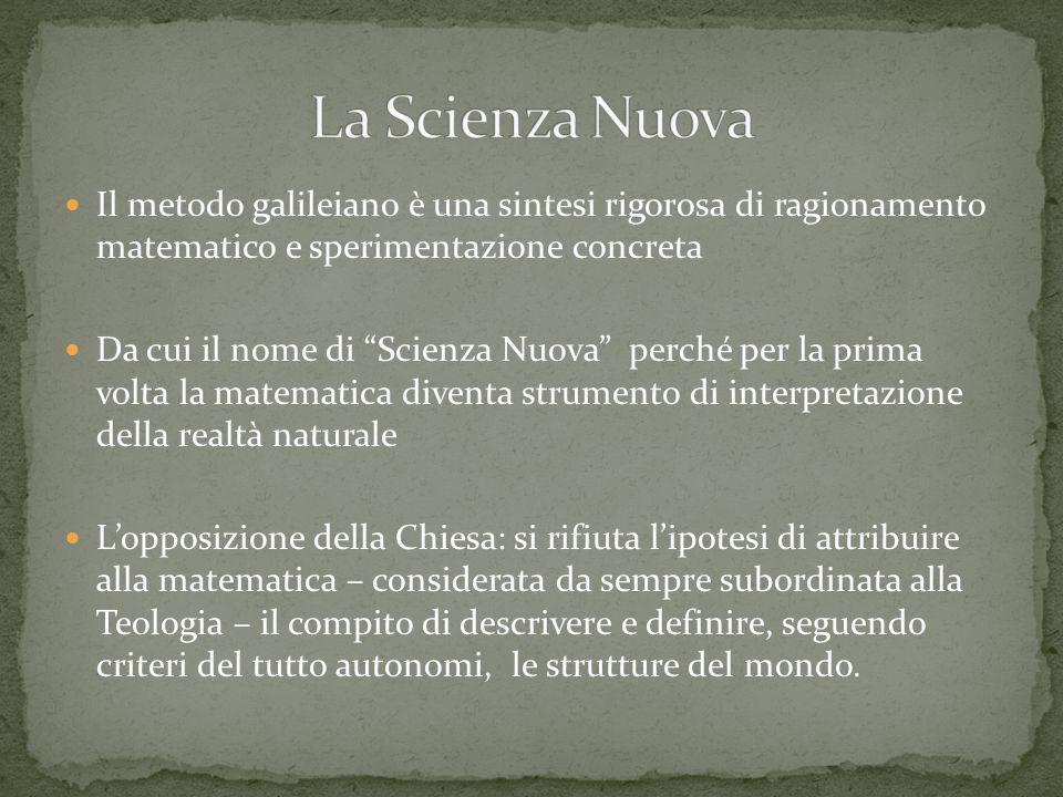 La Scienza Nuova Il metodo galileiano è una sintesi rigorosa di ragionamento matematico e sperimentazione concreta.
