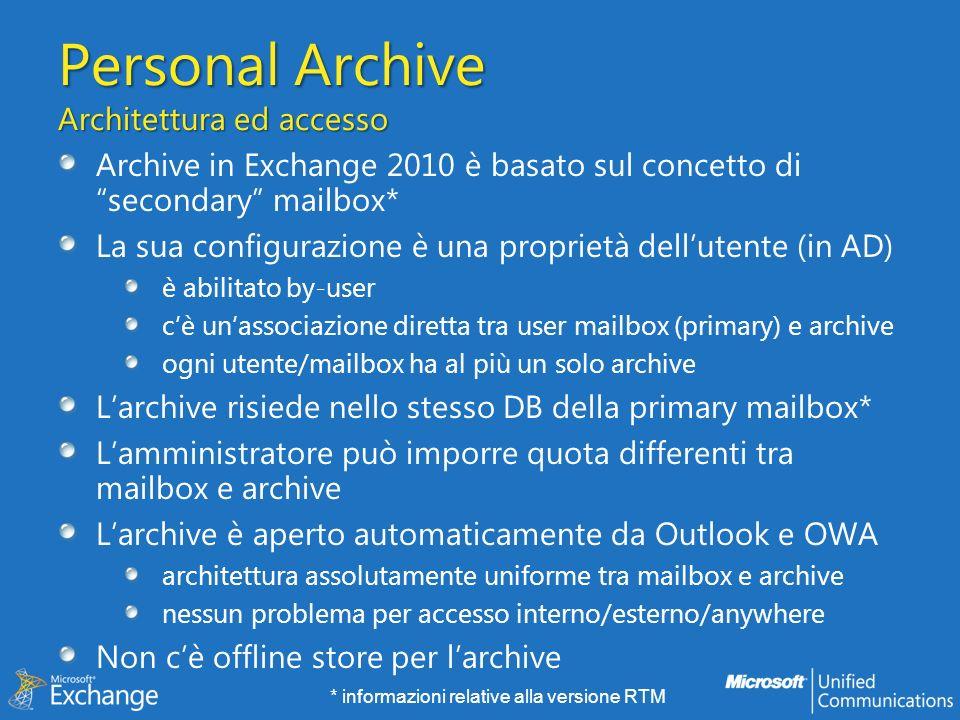 Personal Archive Architettura ed accesso
