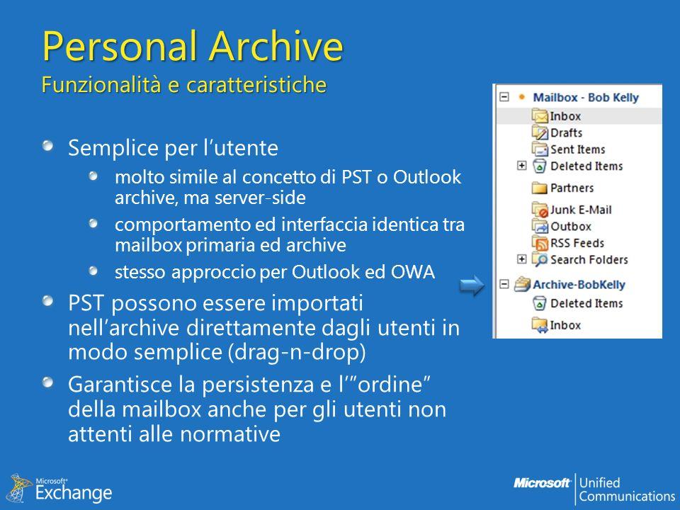 Personal Archive Funzionalità e caratteristiche