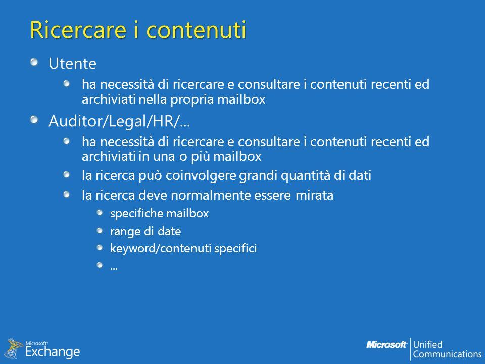Ricercare i contenuti Utente Auditor/Legal/HR/...