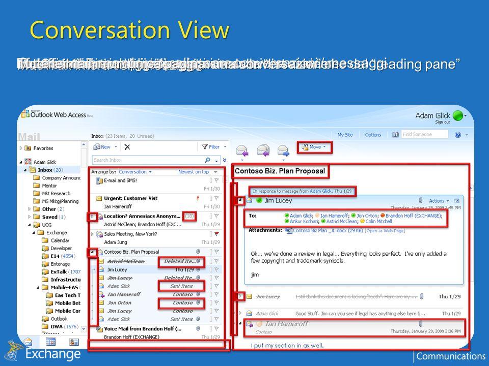 Conversation View Mostra tutti i messaggi di una conversazione assieme