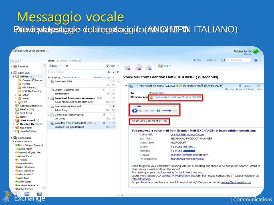 Messaggio vocale Preview testuale del messaggio (ANCHE IN ITALIANO)