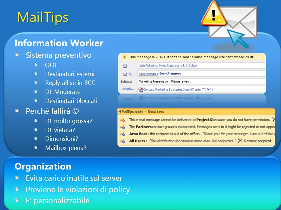MailTips Information Worker Organization Sistema preventivo