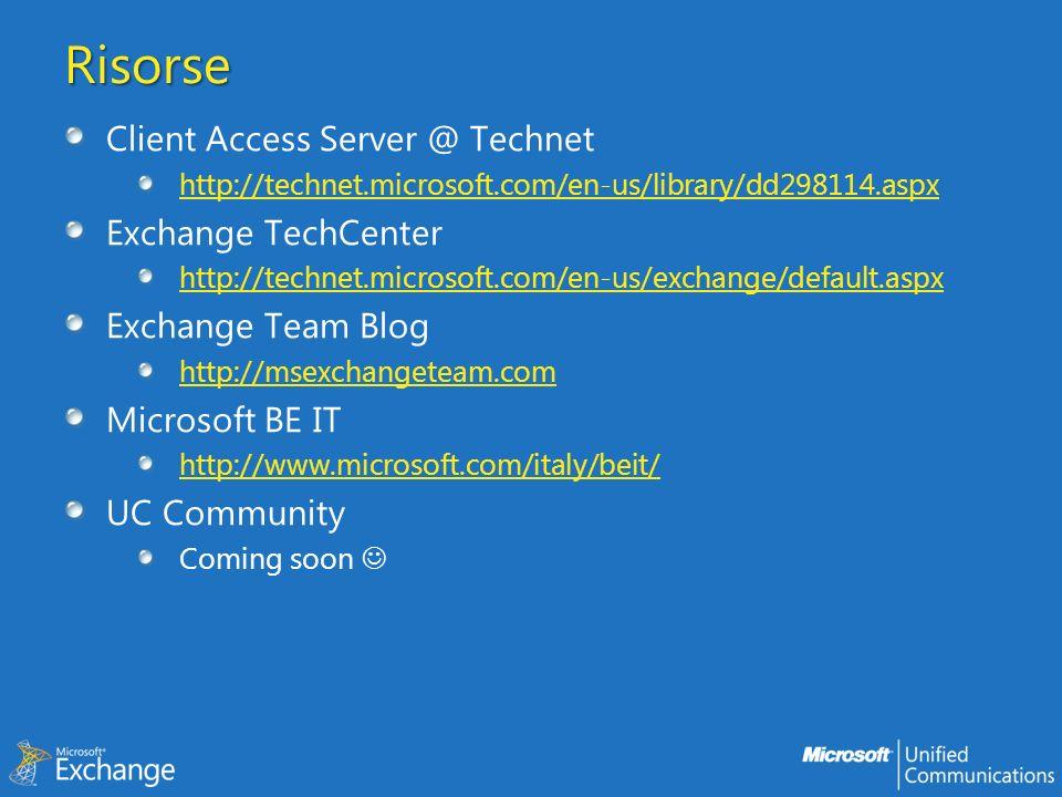 Risorse Client Access Server @ Technet Exchange TechCenter