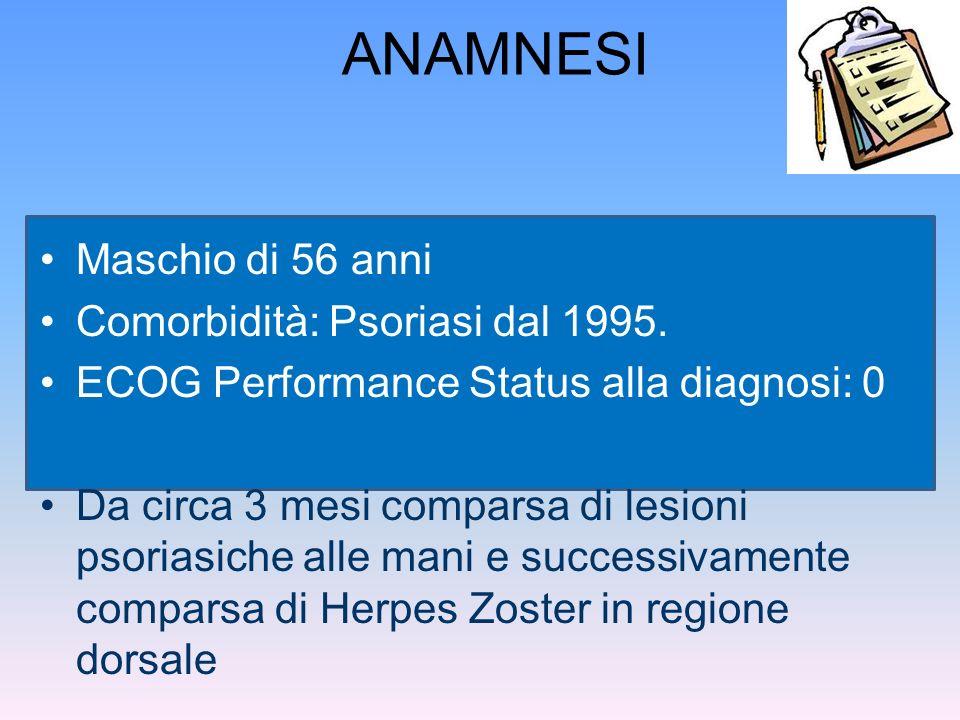 ANAMNESI Maschio di 56 anni Comorbidità: Psoriasi dal 1995.