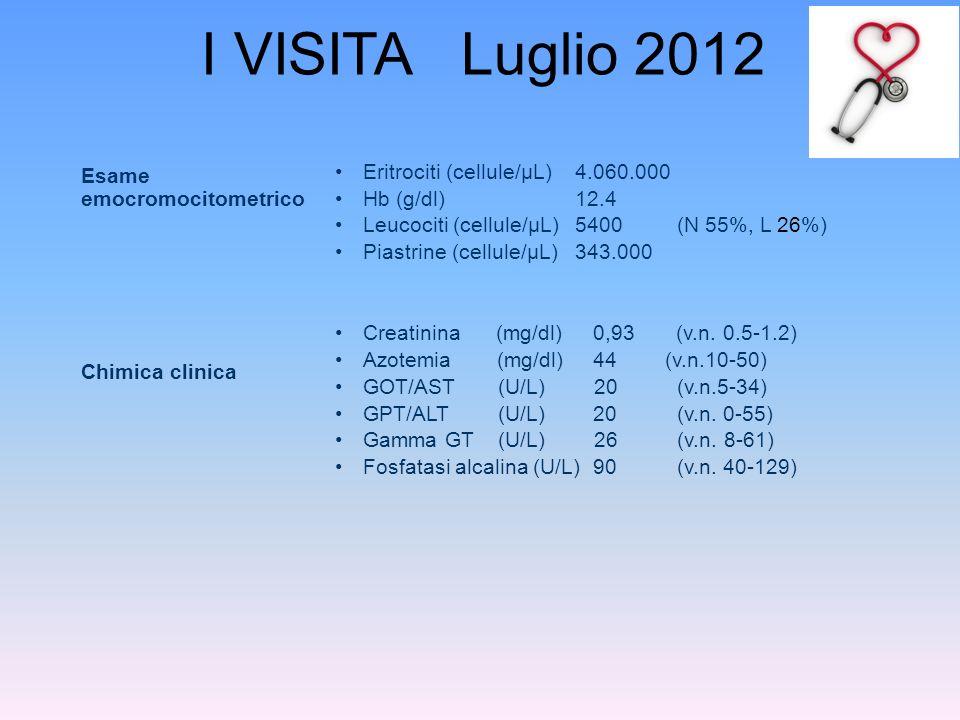 I VISITA Luglio 2012 Esame emocromocitometrico
