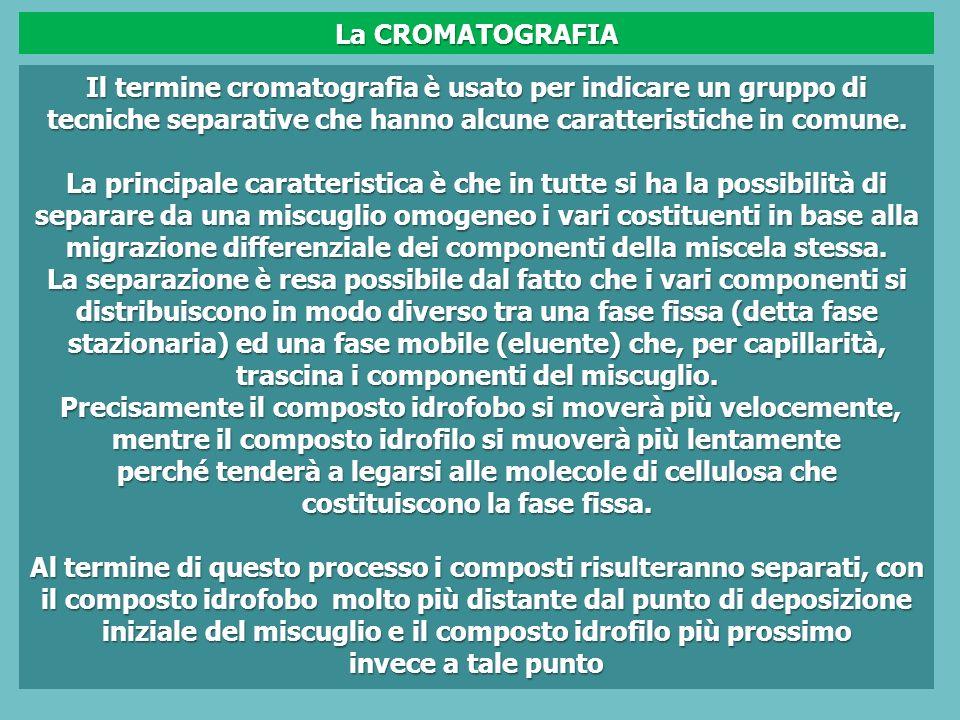 La CROMATOGRAFIA Il termine cromatografia è usato per indicare un gruppo di tecniche separative che hanno alcune caratteristiche in comune.