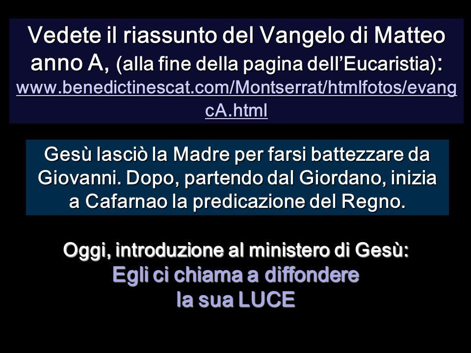 Vedete il riassunto del Vangelo di Matteo anno A, (alla fine della pagina dell'Eucaristia): www.benedictinescat.com/Montserrat/htmlfotos/evangcA.html