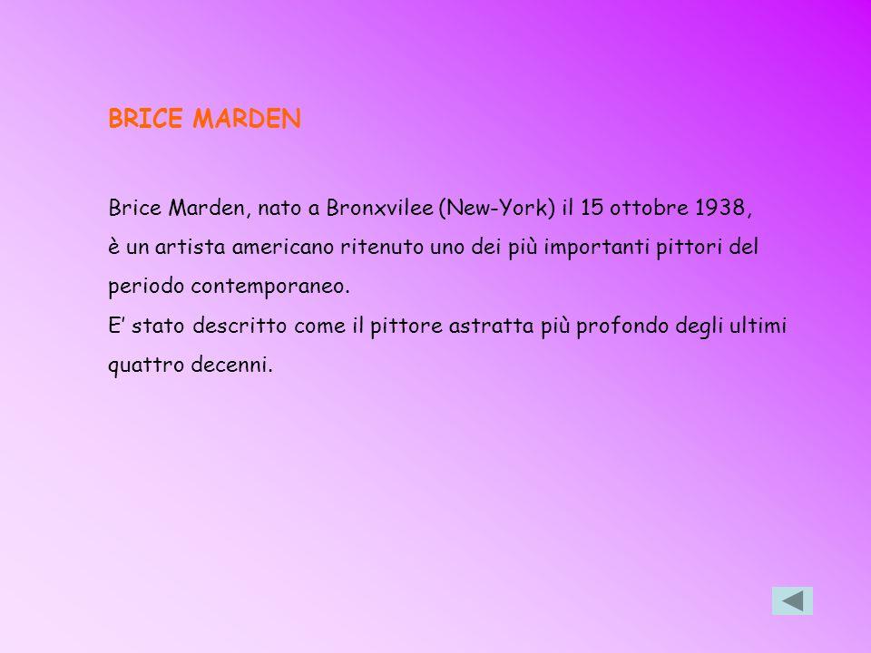 BRICE MARDEN Brice Marden, nato a Bronxvilee (New-York) il 15 ottobre 1938, è un artista americano ritenuto uno dei più importanti pittori del.