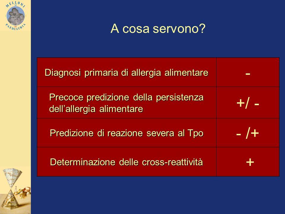 - +/ - - /+ + A cosa servono Diagnosi primaria di allergia alimentare