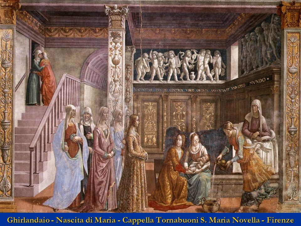 Ghirlandaio - Nascita di Maria - Cappella Tornabuoni S