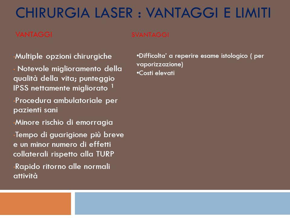 Chirurgia laser : vantaggi e limiti Vantaggi Svantaggi