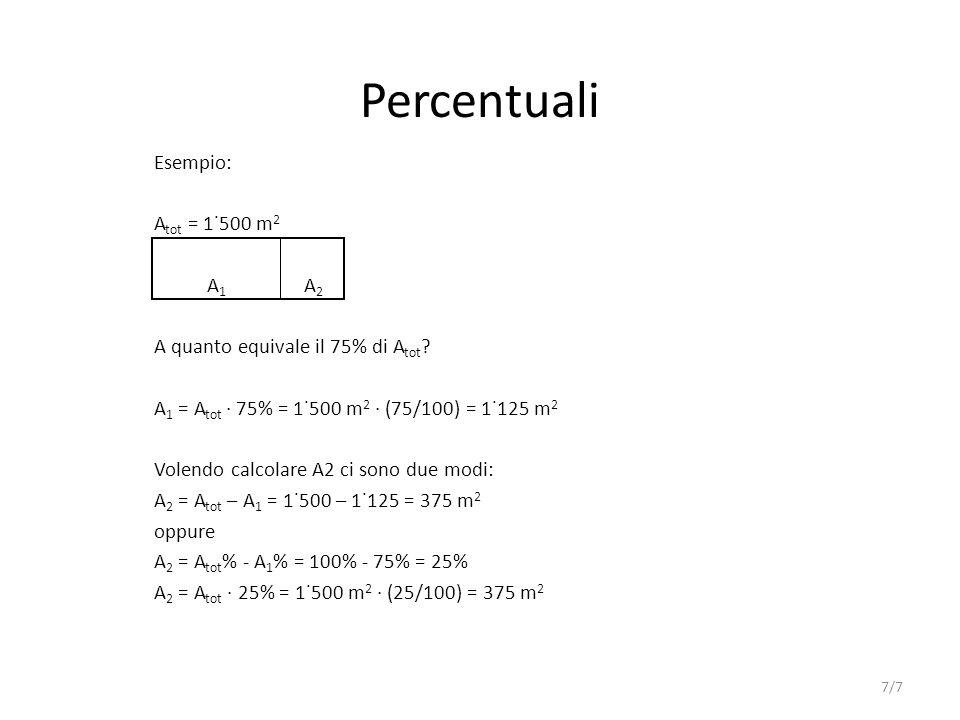 Percentuali Esempio: Atot = 1˙500 m2 A1 A2