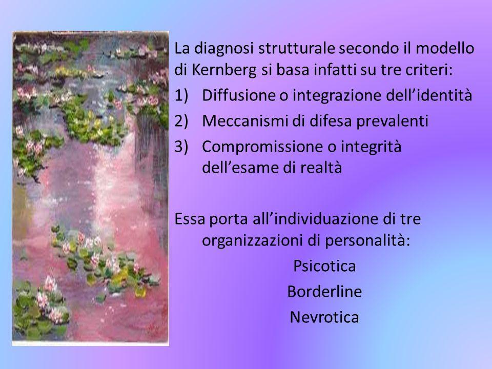 La diagnosi strutturale secondo il modello di Kernberg si basa infatti su tre criteri:
