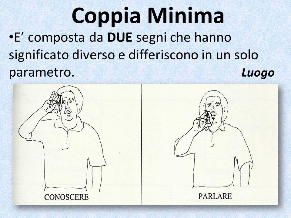 Coppia Minima E' composta da DUE segni che hanno significato diverso e differiscono in un solo parametro.