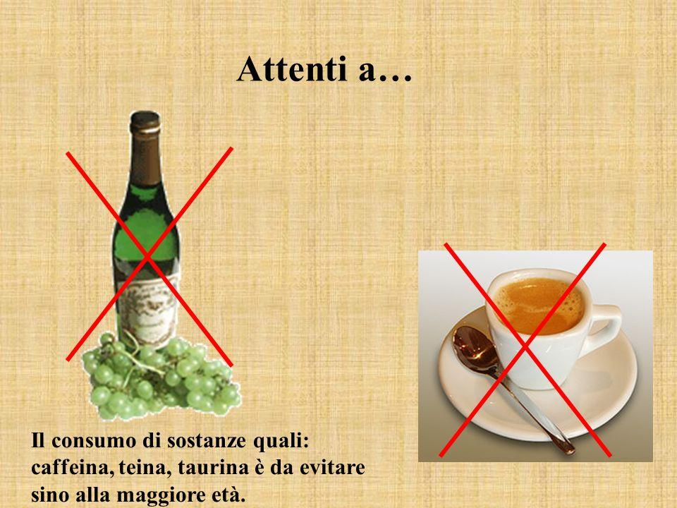 Attenti a… Il consumo di sostanze quali: caffeina, teina, taurina è da evitare sino alla maggiore età.