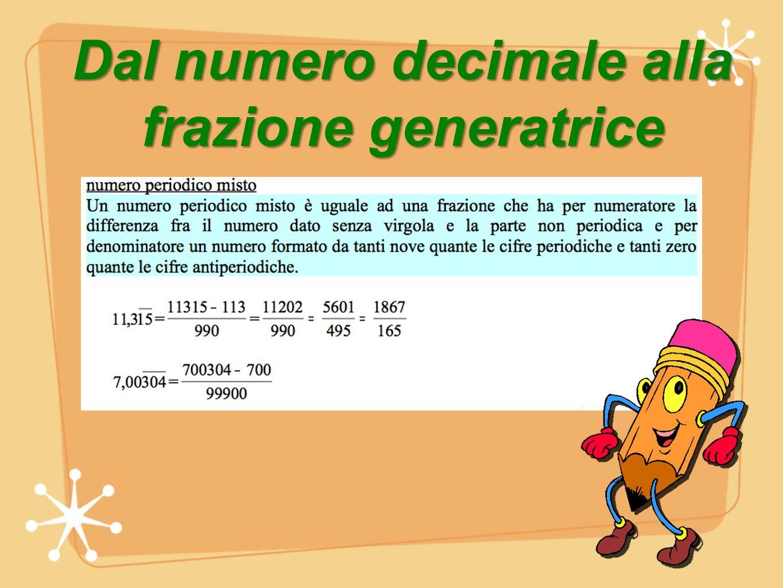 Dal numero decimale alla frazione generatrice