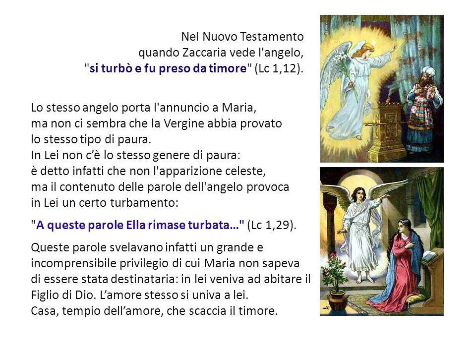 Nel Nuovo Testamento quando Zaccaria vede l angelo, si turbò e fu preso da timore (Lc 1,12). Lo stesso angelo porta l annuncio a Maria,