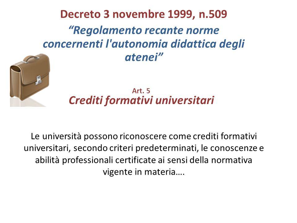 Art. 5 Crediti formativi universitari