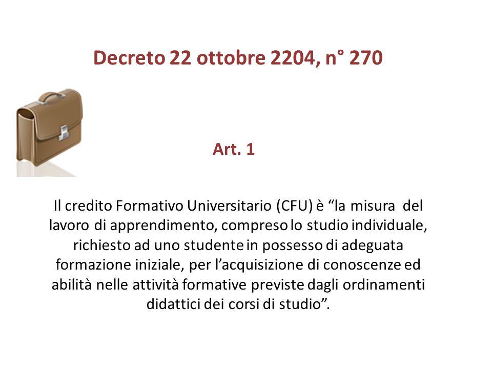 Decreto 22 ottobre 2204, n° 270 Art. 1.
