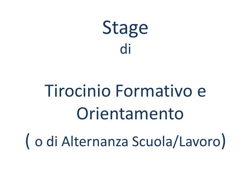 Stage di Tirocinio Formativo e Orientamento