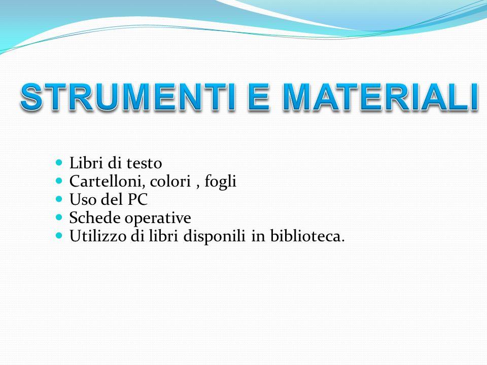 STRUMENTI E MATERIALI Libri di testo Cartelloni, colori , fogli