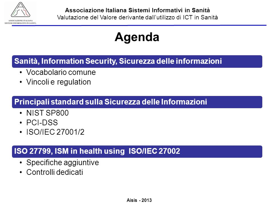 Agenda Sanità, Information Security, Sicurezza delle informazioni