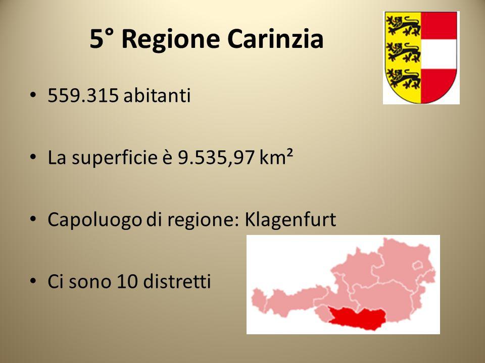 5° Regione Carinzia 559.315 abitanti La superficie è 9.535,97 km²