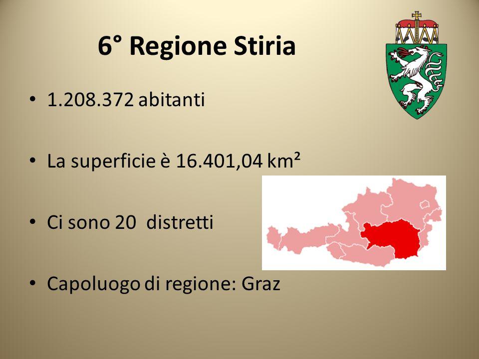6° Regione Stiria 1.208.372 abitanti La superficie è 16.401,04 km²